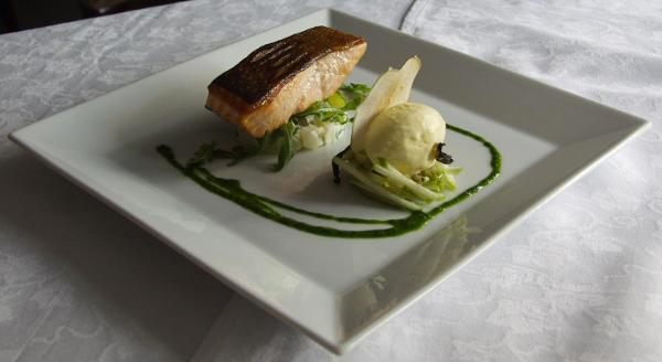 Seared Salmon with Apple Salad and Horseradish Ice Cream by David Lennox of the Horse & Trumpet, Medbourne