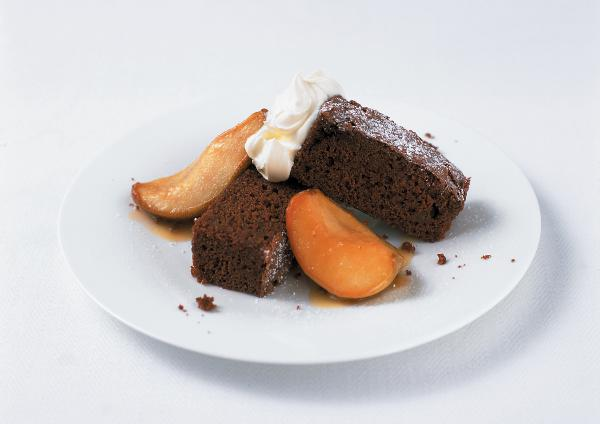 Chocolate Pumpkin Brownies with Caramelised Apples & Pears by Amanda Grant