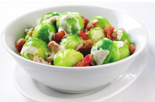Creamed Sprouts with Chestnuts and Bacon