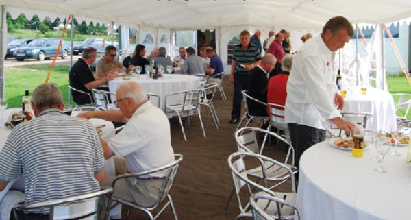 Corporate Guests enjoying hospitality in the marquee