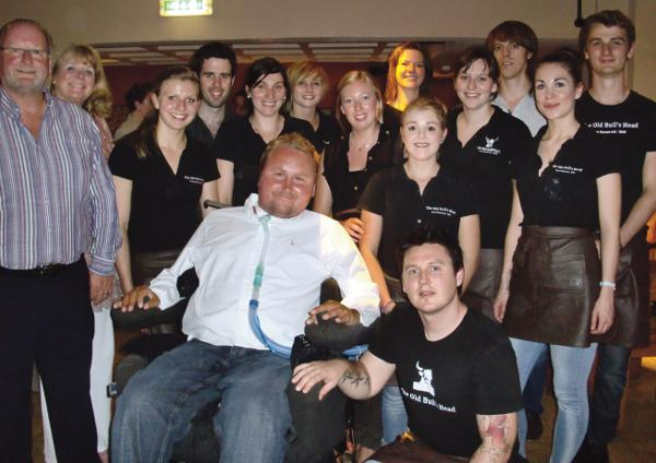 Roy & Fiona Jackson with Matt Hampson and the staff of the Old Bulls Head