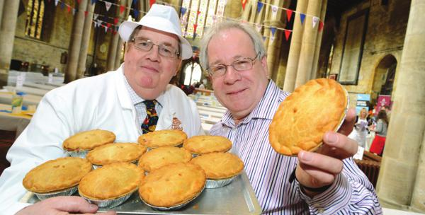 Chief Judge Alan Stuart & chairman of the Melton Mowbray Pork Pie Association, Dr. Matthew O' Callaghan.