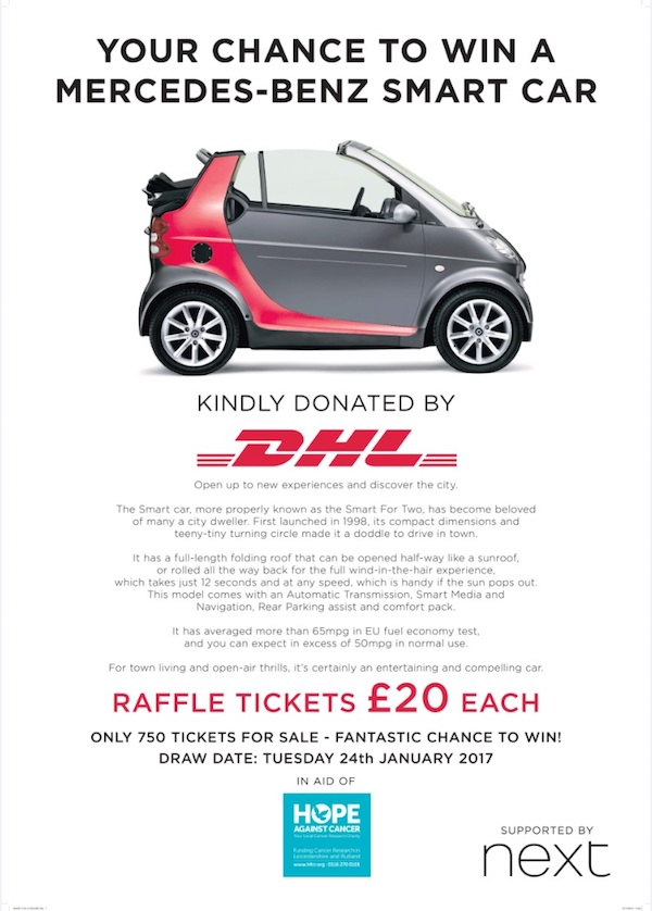 Your chance to win a mercedes benz smart car countryside for Mercedes benz raffle 2017