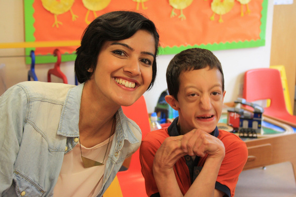 Aiden Kavanagh, who receives care at Rainbows, was quick to make friends with Rakhee, who he recognised from the show.