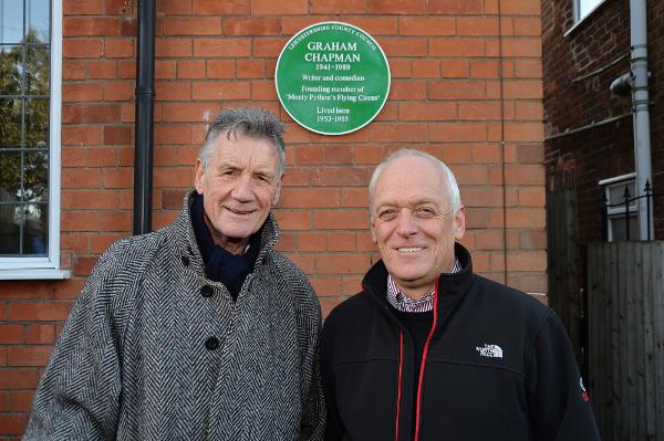 Michael Palin honours Python pal with Leicestershire County Council green plaque