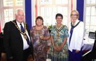 Cllr Barry Garner, Chairman for Blaby District Council; Mrs. Susan Human, Consort; Cllr. Mrs. Jackie Dickinson, Chairman for Leicester County Council and Mrs. Vicky Thornton, Consort