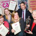 Leicestershire Cares President Penny Corah presents the nicholas Corah Memorial Cup for Company of the Year to Tracey Mallett of National Grid. L-R Lisa March of SGP, Sam Walley Gately Wareing & Stephen Woolfe awarded President's Award for Outstanding Achievement also representing Firm of the Year Harvey Ingram