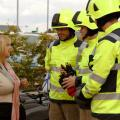 Sue Roberts with Fire Fighters