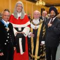 High Sheriff of Leicestershire 2016-17 Surinder Sharma, The Hon Mr Justice Haddon-Cave, Lord Mayor of Leicester Cllr Ted Cassidy and Resham Singh Sandhu