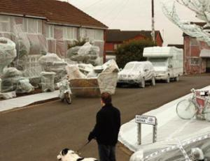Britain's most notorious street for claims covered in bubble wrap