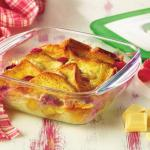 Brioche Bread and Butter Pudding with Raspberries and White Chocolate