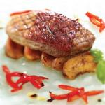 Parma wrapped duck with chargrilled plums