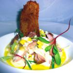 Confit Duck risotto with leek & sweetcorn, duck crisp