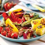 Barbecued Summer Vegetables with a Sweet and Spicy Pomegranate Dressing